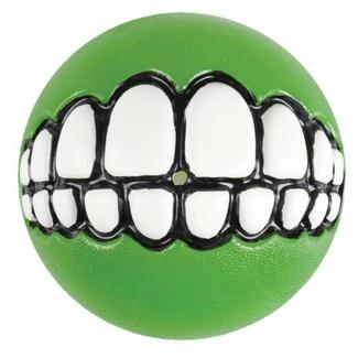 Мяч с принтом зубы и отверстием для лакомств GRINZ большой, лайм (GRINZ BALL LARGE) GR04L