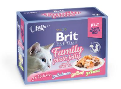 Brit Premium 12x85г Набор паучией для взрослых кошек кусочки в желе Family Plate Gravy