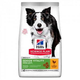 Hill's 800г Science Plan сухой корм Senior Vitality для пожилых собак средних пород старше 7 лет, с курицей и рисом, Youthful Vitality