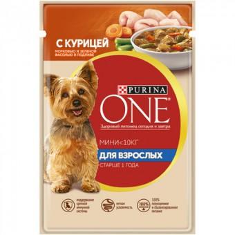 """Purina One Mini 85г паучи для взрослых собак малых пород с курицей, морковью и зеленой фасолью в подливе """"Уже взрослая"""""""