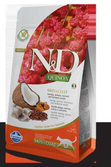 Farmina 1,5 кг N&D Cat Grain Free Quinoa Skin & Coat Herring Беззерновой Корм для Взрослых Кошек Здоровье Кожи и Шерсти Сельдь, Кокос и Куркума с Киноа