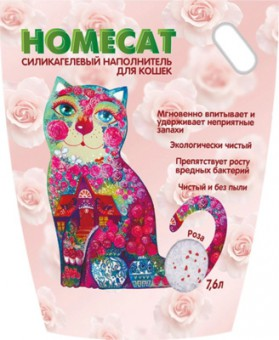 Homecat 7,6л силикагелевый наполнитель для кошачьих туалетов с ароматом розы