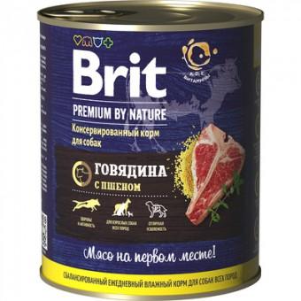 Brit 850гр Premium by Nature Beef&Millet консервы с говядиной и пшеном для собак