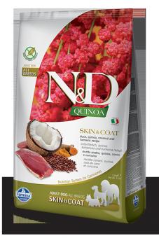 Farmina 2,5 кг N&D Dog Grain Free Quinoa Skin & Coat Duck сухой корм для взрослых собак всех пород Здоровье Кожи и Шерсти Утка, Кокос и Куркума с Киноа