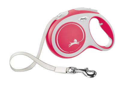 Flexi New Comfort XS Рулетка-ремень для собак до 12кг, 3м красная
