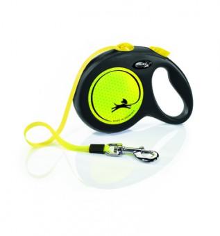 Flexi New Neon S Рулетка-ремень для собак до 15кг, 5м желтая