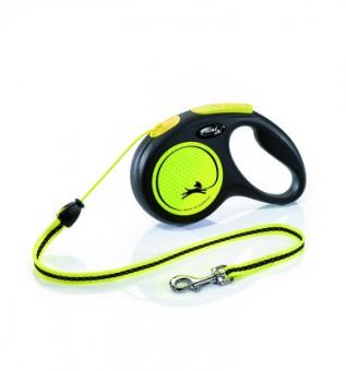 Flexi New Neon Cord S Рулетка-ремень для собак до 12кг, 5м желтая