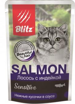 Blitz Cat Adult влажный корм для кошек с лососем и индейкой в соусе в паучах, 85г x 24шт