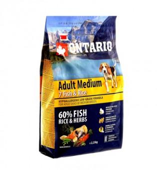 Ontario 12кг Adult Medium Fish Rice Сухой корм для собак средних пород с 7 видами рыбы и рисом
