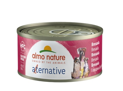 "Almo Nature Alternative 70г консервы для собак ""Говядина брезаола"", 55% мяса, HFC ALMO NATURE ALTERNATIVE DOGS BRESAOLA"