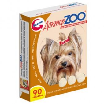 Доктор ZOO 90 таб. со вкусом копчености. Мультивитаминное лакомство для собак