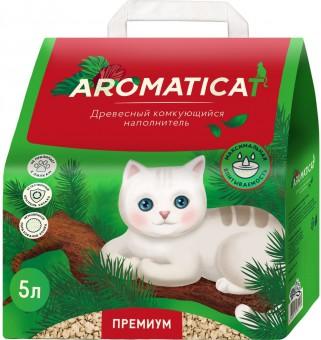 Aromaticat Премиум 5 литров (2 кг) Древесный комкующийся наполнитель для кошачьего туалета