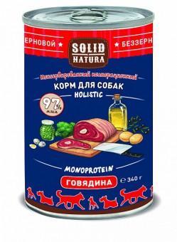 6шт.Solid Natura Holistic 0,34 кг Консервы для взрослых собак, говядина