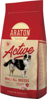 Araton 15кг сухой корм для активных собак, с мясом птицы