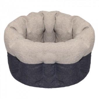 Yami-Yami 38*38*25см лежак круглый пухлый, с подушкой, серый