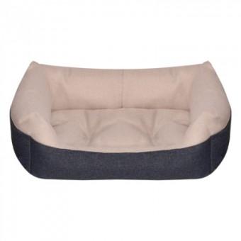 Yami-Yami 55*40*19см лежак прямоугольный пухлый, с подушкой, бежевый