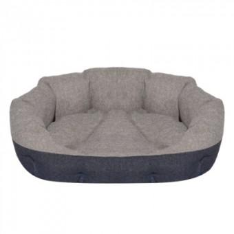 Yami-Yami 48*38*16см лежак овальный пухлый, с подушкой, серый