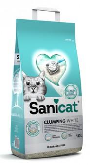 Sani Cat 8,6кг белоснежный комкующийся наполнитель с активным кислородом без аромата