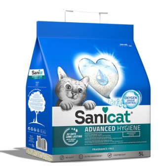Sani Cat 2.1кг усовершенствованный облегченный впитывающий наполнитель с активным кислородом