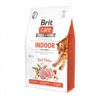 Brit Care 7кг Антистресс: гипоаллергенный сухой корм, со свежим мясом курицы для взрослых домашних кошек