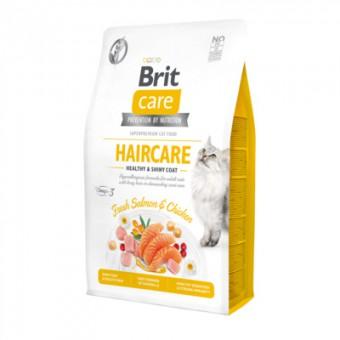 Brit Care 400г Красивая кожа и шерсть: гипоаллергенный сухой корм, со свежим мясом лосося и курицы для взрослых кошек