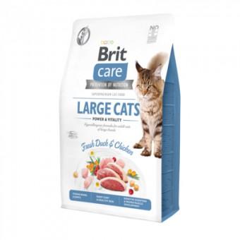 Brit Care 7кг сухой корм для взрослых кошек крупных пород, гипоаллергенный со свежим мясом утки и курицы