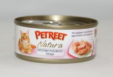 6шт Petreet 70г консервы для кошек кусочки розового тунца