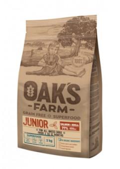 OAKS FARM Grain Free Junior 2кг беззерновой сухой корм для щенков 3-12 месяцев, Лосось/Криль