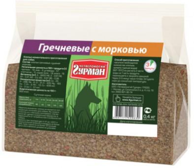 """Четвероногий Гурман 400г каша для собак """"Хлопья гречневые с морковью"""""""