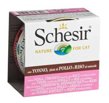Schesir 85г. Тунец+кура+рис, консервы для врослых кошек