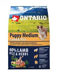 Ontario 6,5кг Puppy Medium Lamb Rice Для щенков средних пород с ягненком и рисом