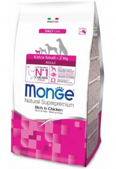 Monge Dog 3 кг Extra Small корм для взрослых собак миниатюрных пород с курицей