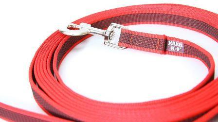 JULIUS-K9 поводок для собак Color & Gray Super-grip 2/500см, без ручки, до 50 кг, красно-серый