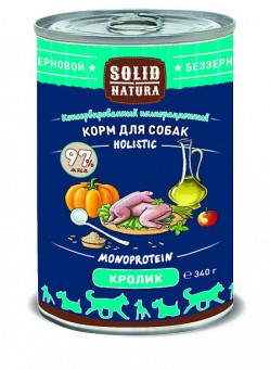 6шт.Solid Natura Holistic 0,34 кг Консервы для взрослых собак, кролик