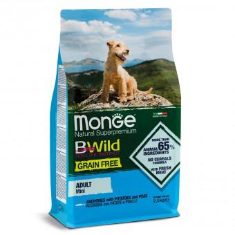 Monge 2,5кг Dog BWild GRAIN FREE Mini беззерновой корм из анчоуса с картофелем и горохом для взрослых собак мелких пород