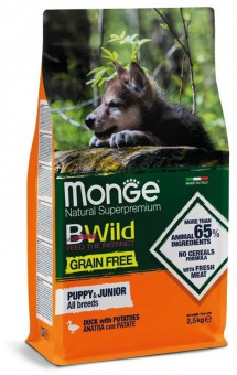 Monge Dog 2,5 кг GRAIN FREE беззерновой корм для щенков утка с картофелем