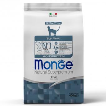 Monge Cat 400гр Monoprotein Sterilised Trout корм для стерилизованных кошек с форелью