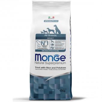 Monge Dog Monoprotein 12кг корм для собак всех пород форель с рисом и картофелем
