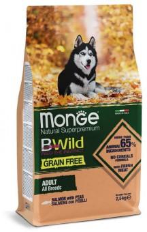 Monge Dog 12кг BWild GRAIN FREE беззерновой корм из лосося и гороха для взрослых собак всех пород