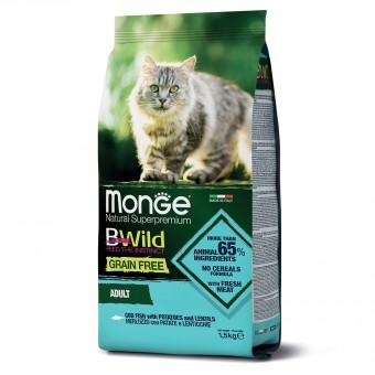 Monge Cat 1,5 кг BWild GRAIN FREE беззерновой корм из трески, картофеля и чечевицы для взрослых кошек