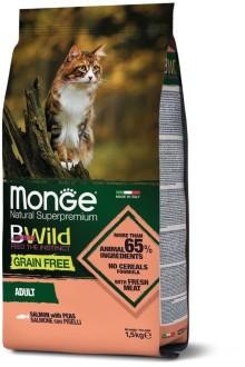 Monge Cat 1,5 кг BWild GRAIN FREE беззерновой корм из лосося и гороха для взрослых кошек