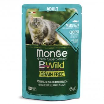 Monge Cat BWild GRAIN FREE 85гр паучи из трески с креветками и овощами для взрослых кошек