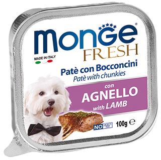 6шт.Monge Dog Fresh 100г консервы для собак ягненок
