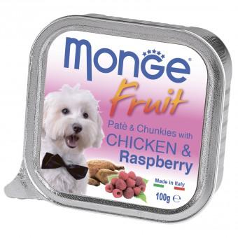 6шт. Monge Dog Fruit консервы для собак курица с малиной 100г