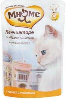 12шт Мнямс 85 г паучи для кошек Каччиаторе по-Неаполитански, курица с томатами