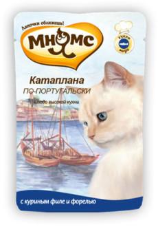 12шт Мнямс 85 г паучи для кошек Катаплана по-португальски, с форелью