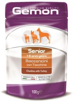 Gemon Dog Pouch 100 г паучи для пожилых собак кусочки индейки