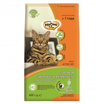 Мнямс 400 гр Active Life Сухой корм с кроликом для взрослых кошек