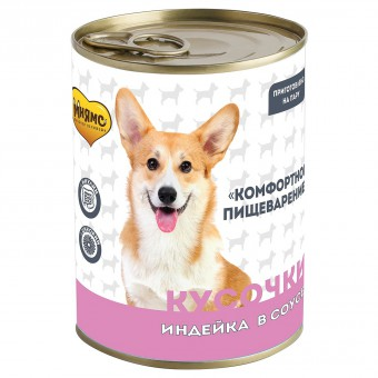 Мнямс 400г Кусочки в соусе с индейкой для собак всех пород Комфортное пищеварение