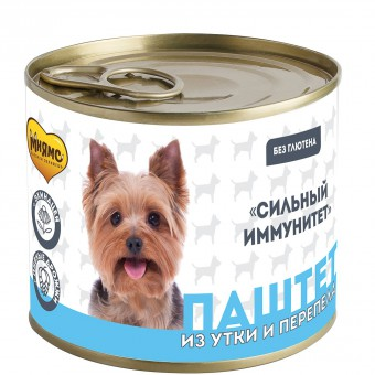 Мнямс 200г Паштет из утки и перепела для собак всех пород Сильный иммунитет